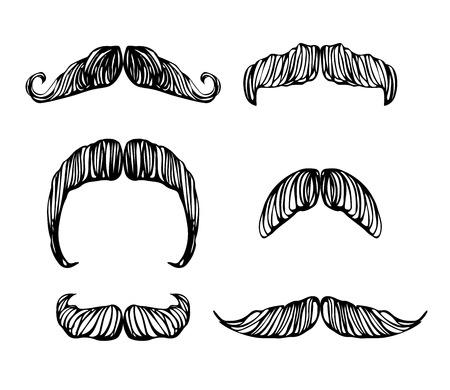 Hand drawn black and white mustache set Stock Photo