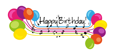 Happy Birthday greeting card with lettering design Foto de archivo - 106599260