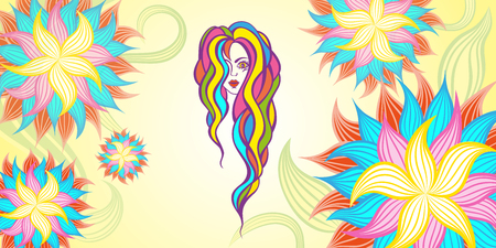 Vintage Fashion Woman with Long Hair. flat illustration isolated on white background