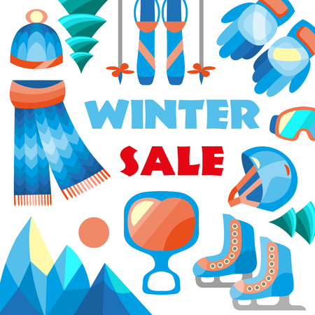 Winter sale banner for sale text for year end promotion. illustration. Stock Photo