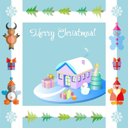 Isometric Christmas Decorated Houses with Tree and Snowman. 3d flat illustration