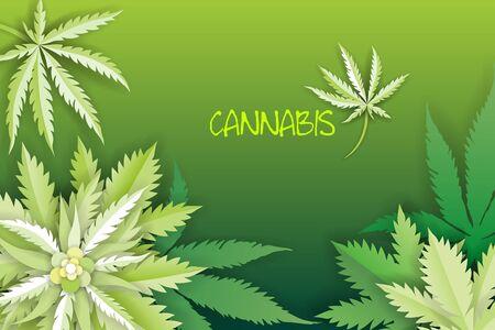 Marijuana or cannabis vector leaf paper style