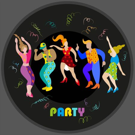 Vector image of men and women at the party. Silhouettes on a black background