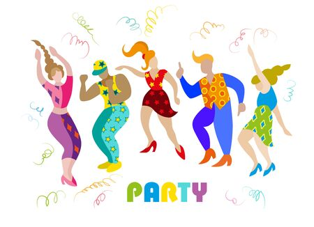 Vector image of men and women at the party. Silhouettes isolated