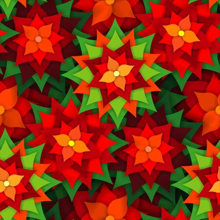 Christmas pattern of plants with poinsettia flowers Banque d'images