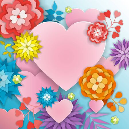 Happy Valentines Day greeting card with flowers