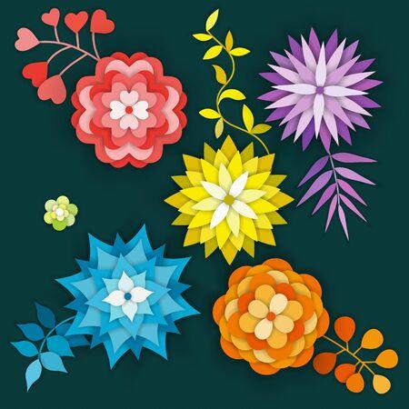 Paper art flowers isolated. Set - vector stock. Illustration