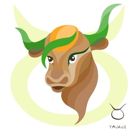 Sign of the zodiac Taurus is riding a bull. Constellation of Taurus. Vector illustration.