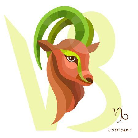 Capricorn zodiac sign of horoscope circle astrological, horoscope symbol. Illustration