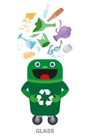 Waste sorting and recycling concept. Color ilustration. Glass. Banque d'images