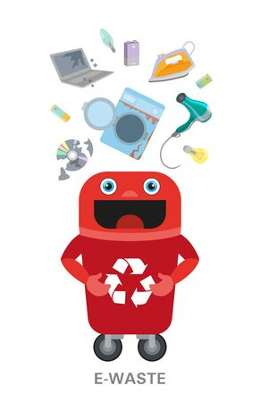 Electronic waste in recycling bin with discarded electrical and electronic devices. Isolated e-waste in garbage can.