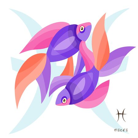 Pisces, fishes, Zodiac sign. Astrological horoscope collection.