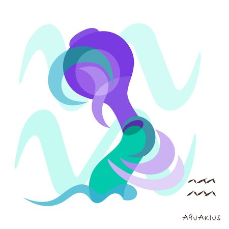 Zodiac sign Aquarius. Vector illustration in the style of minimalism. The symbol of the astrological horoscope. Illustration