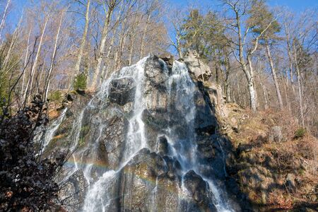 Panorama Waterfall Harz Germany Waterfall green forest landscape Banque d'images
