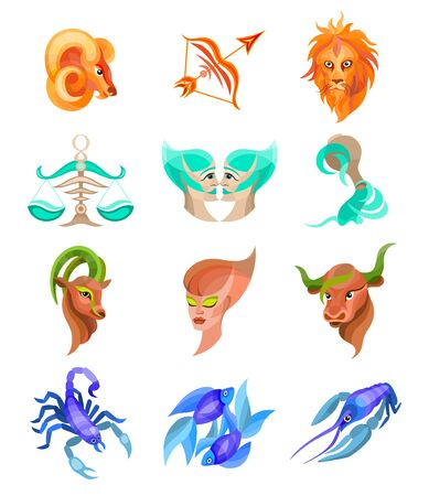 zodiac signs flat buttons set of horoscope symbols, astrology icons collection Illustration