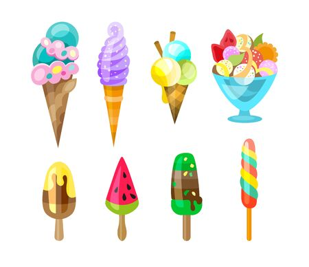 Set of ice cream icons in flat style. Ice cream on a stick, in waffle cup. Vector illustration Иллюстрация
