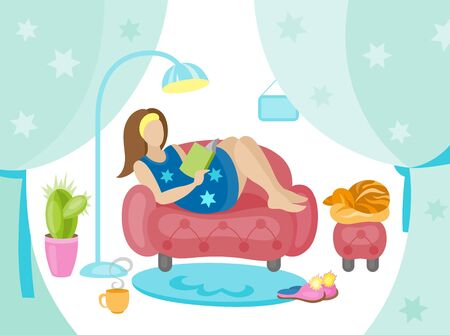 Happy young woman is relaxing on comfortable chair . Illustration