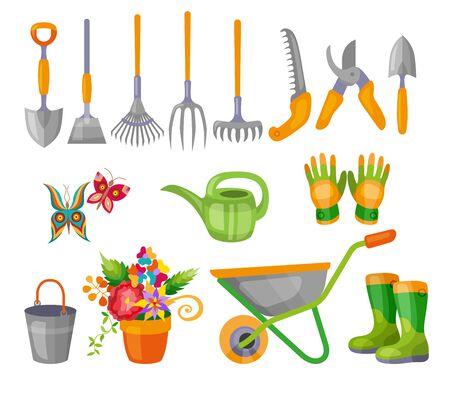 Gardening work tools flat icons set. Nice equipment for working in garden, gardening cart, gloves, secateurs, seeds, tulip flower, shovel, watering can, etc. Flat vector illustration set.