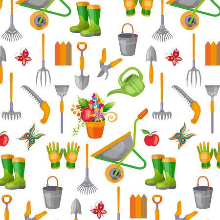Seamless pattern with gardening tools on white background. Backdrop with equipment for crops cultivation, agricultural work and growing plants.