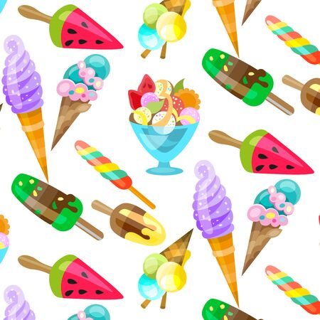 Ice cream cone seamless pattern background. Realistic. Bright and pastel colors. For print and web. Illustration
