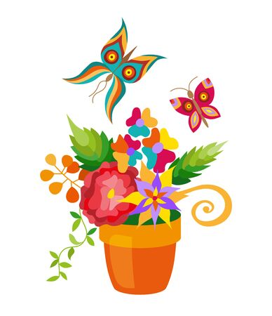 Flower pot with different flowers set, flat style.