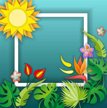 Composition with flowers, leaves and abstract elements. Design for your poster, banner, flyer. Illustration
