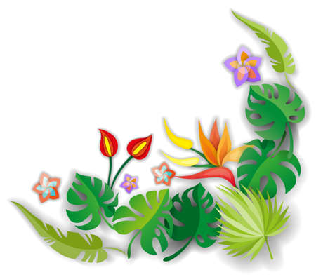 Composition with flowers, leaves and abstract elements. Design for your poster, banner, flyer.  イラスト・ベクター素材