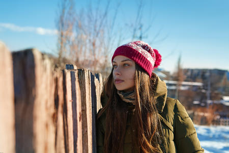 winter woman: Young woman in winter outdoors
