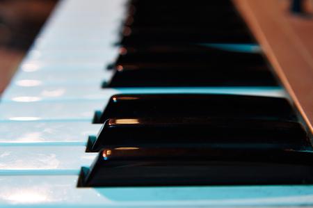 Electronic key synthesizer close up, selective focus Stock Photo