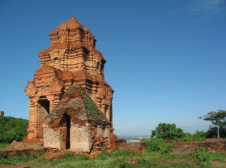 Cham Towers Po sha Nu , vietnam. Monument Cham architecture and sculptures