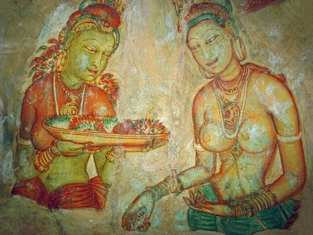 Cave painting inside the ancient Cave temple, Sri Lanka. 5 century Stock Photo