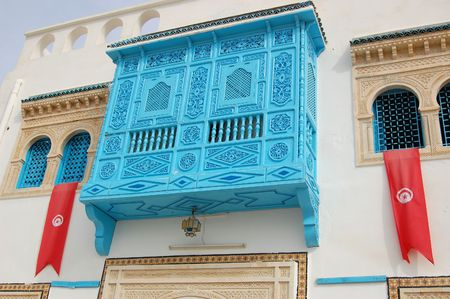 tunis: Traditional white-blue house  from kairouan, Tunis