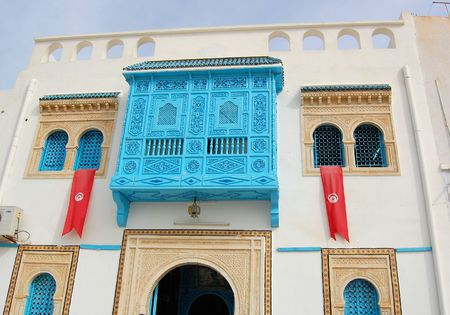 Traditional white-blue house  from kairouan, Tunis photo