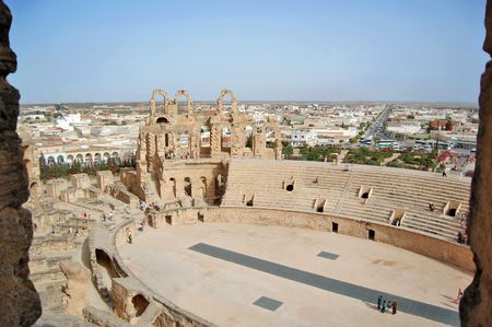 Africa, Tunis, el Jem - The coliseum, Panorama Stock Photo