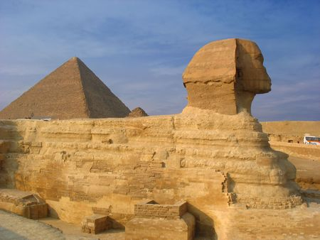 Sphinx and pyramids in Giza. Egypt