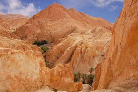 Mountainous oasis in Tunisia. Sahara, Chebika Stock Photo