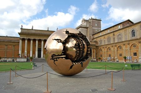 Court yard in Vatican. sculpture the globe Stock Photo