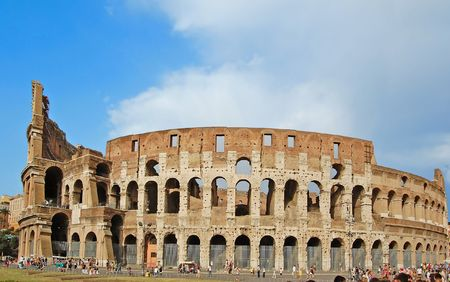 amphitheater: The Colosseum, famous ancient amphitheater in Rome, Italy.