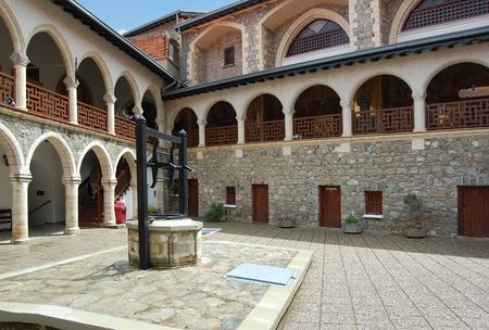 monastery Kykkos in Cyprus, Troodos mountains.  Popular tourist destination in this country. Stock Photo