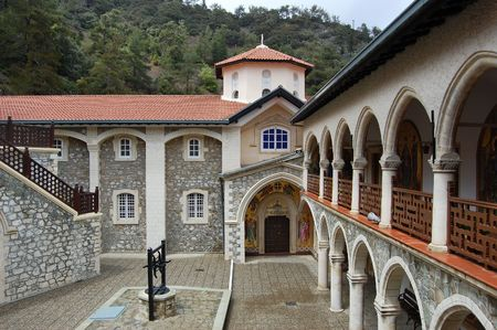 monastery Kykkos in Cyprus, Troodos mountains. Popular tourist destination in this country.