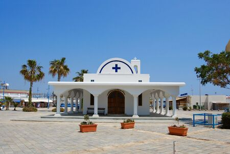 White church and palms, Agia napa, Cyprus