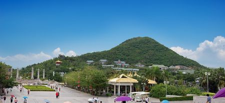 Sanya Nanshan (South mountain) cultural tourism zone. Panorama Stock Photo