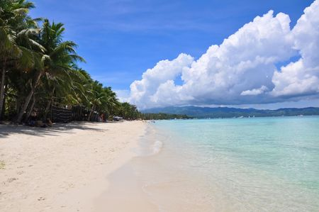 Beautiful white sand beach in Boracay, Philippines photo