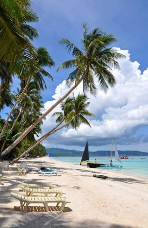 Beautiful white sand beach in Boracay, Philippines Stock Photo