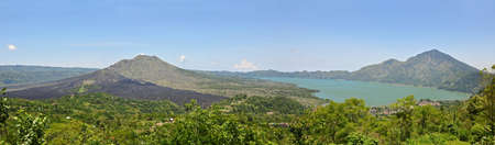 Panorama of a Volcano and lake Batur in Bali. Indonesia.  photo