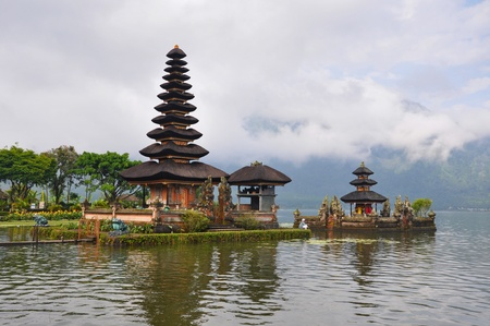 Beautiful Balinese Pura Ulun Danu temple on lake Bratan. Bali, Indonesia Stock Photo