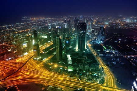 Panorama Dubai city at night. Sheikh Zayed Road. united arab emirates