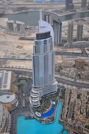 mall of the emirates: beautiful view from the tower Burj Khalifa. The Address Dubai Mall.
