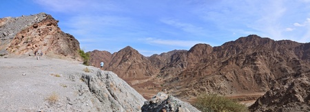 Panorama Hajjar mountain. emirate fujairah. united arab emirates