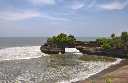 Indonesian temple on sea coast. Tanah lot complex. Bali. Indonesia